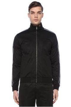 Givenchy Erkek Siyah Dik Yaka Kolları Kontrast Şeritli Sweatshirt S EU(125149501)