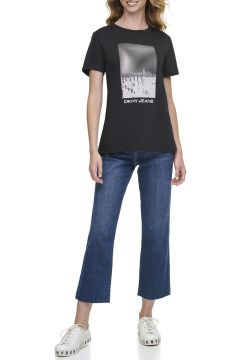 Dkny Jeans NYC Baskılı Logolu Kısa Kollu T-Shirt(124438256)
