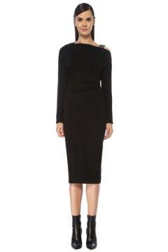 Brunello Cucinelli Kadın Siyah Tek Omzu Açık Uzun Kol Midi Yün Elbise L EU(119136984)
