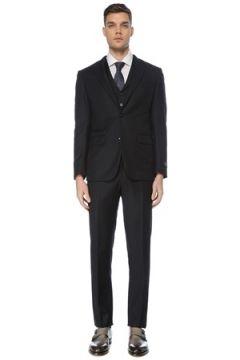 Pal Zileri Erkek Lacivert Çizgili Yelekli Yün Takım Elbise 48 IT(126433446)