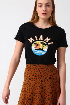 Koton Bisiklet Yaka Baskılı Siyah T-Shirt(113977430)