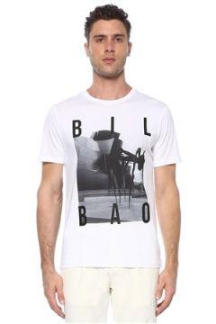 Network Erkek Slim Fit Beyaz Kontrast Baskılı T-shirt M EU(117653258)