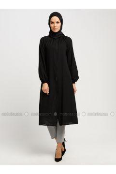 Black - Polo neck - Tunic - ModaNaz(110332310)