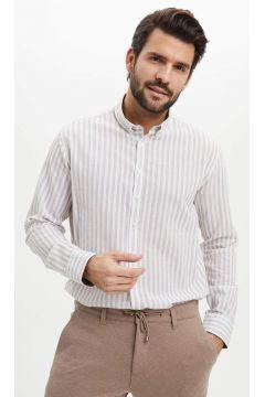 DeFacto Erkek Modern Fit Uzun Kollu Çizgili Gömlek(119060542)