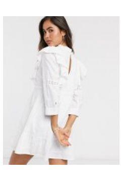 Neon Rose - Vestito corto da giorno con finiture in pizzo e pinces in cotone-Bianco(120331526)