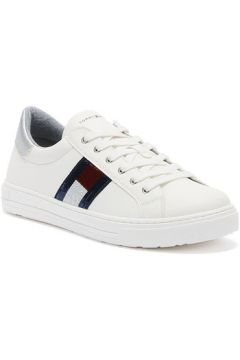 Tommy HilfigerLow Cut Lace Up Junior White / Silver Trainersmen\'s Shoes (Trainers) in White(112261429)
