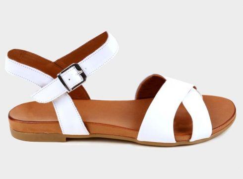 SHOELAB Beyaz Hakiki Deri Kadın Comfort Sandalet(118221753)