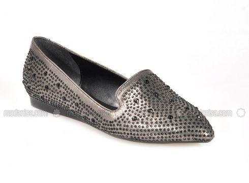 Silver Tone - Flat - Flat Shoes - Vizon(110330291)