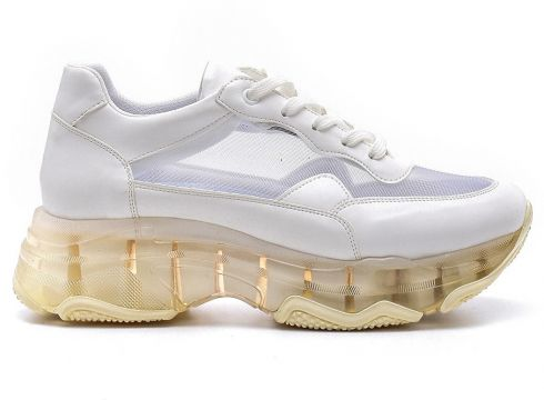 Derimod Beyaz Kadın Şeffaf Tabanlı Sneaker(110960989)