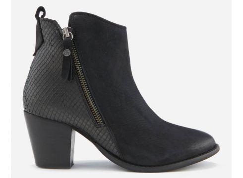 Dune Women\'s Pontoons Nubuck Heeled Ankle Boots - Black - UK 3 - Schwarz(56901882)