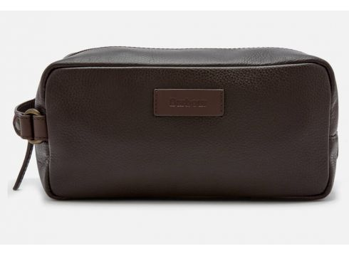 Barbour Men\'s Compact Leather Wash Bag - Brown(90305181)