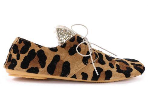 Derby-Schuhe aus Wildleder Leopard Glitter(96634388)