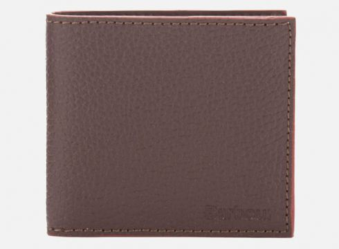 Barbour Men\'s Grain Leather Billfold Wallet - Dark Brown(68698880)