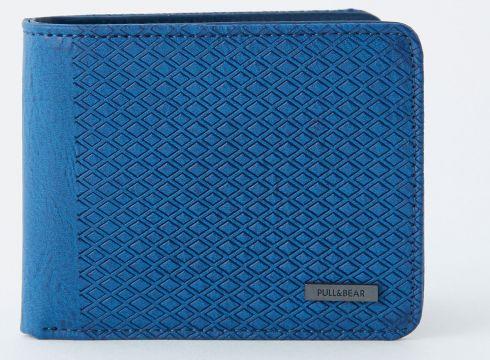 Niebieski portfel z panelem z wypukłym wzorem(55837450)