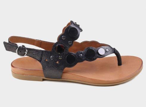 SHOELAB Siyah Simli Hakiki Deri Kadın Aksesuarlı Sandalet(117829706)