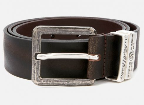 Diesel Men\'s Guarantee Leather Belt - Brown - W36/90cm - Brown(68699422)