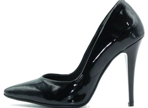 Park Moda Siyah Rugan Kadın Klasik Topuklu Ayakkabı(124149207)