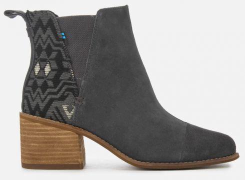 TOMS Women\'s Esme Suede/Metallic Jacquard Heeled Chelsea Boots - Forged Iron - UK 3 - Grau(58374866)