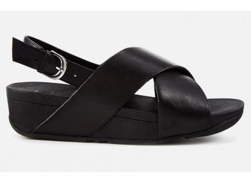 FitFlop Women\'s Lulu Leather Cross Back Strap Sandals - Black - UK 3 - Schwarz(78456448)